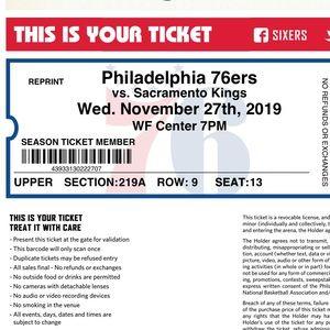 Philadelphia 76ers ticket